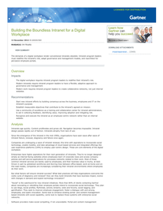 Analyst Report:  Gartner Research – Building the Boundless Intranet for a Digital Workplace