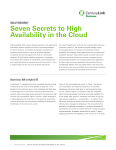 Seven Secrets to High Availability in the Cloud