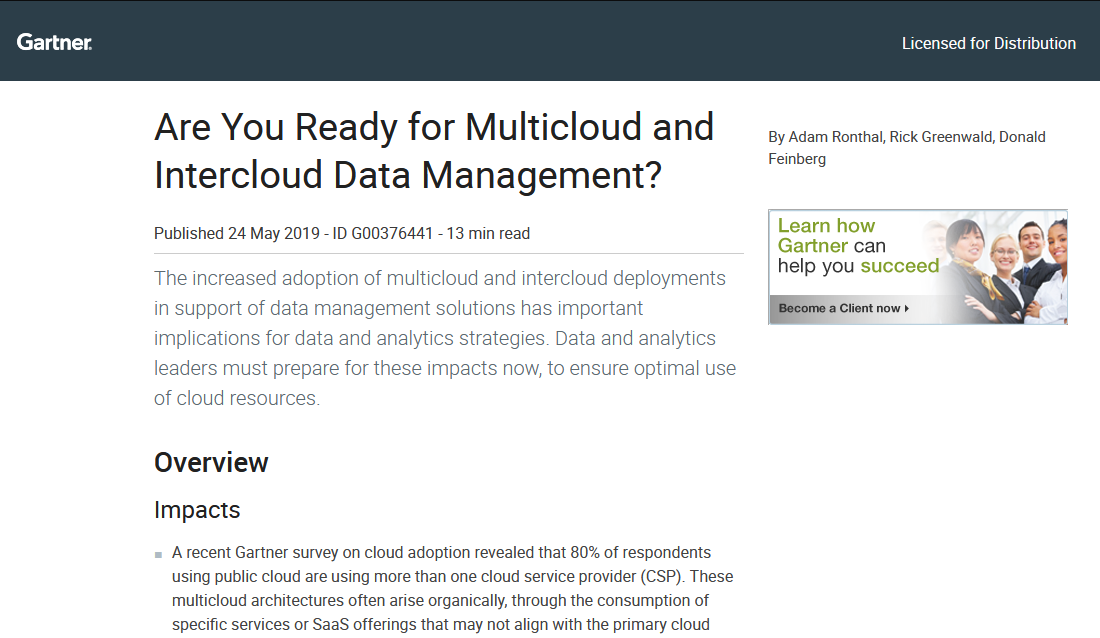 Gartner – Are You Ready for Multicloud and Intercloud Data Management?