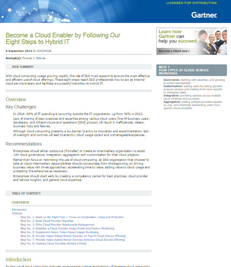 Gartner: Become a Cloud Enabler by Following Our Eight Steps to Hybrid IT