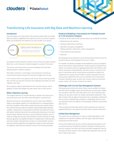 Transforming Life Insurance with Big Data and Machine Learning
