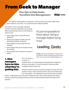 From Geek to Manager: Five Tips to Help Geeks Transition into Management