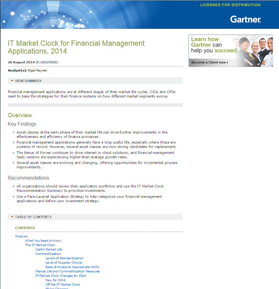 Gartner Report: IT Market Clock for Financial Management Applications, 2014