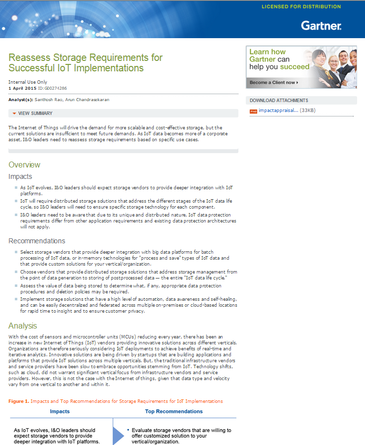 Reassess Storage Requirements for Successful IoT Implementations