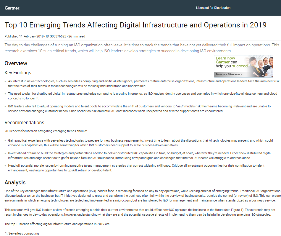 Top 10 Emerging Trends Affecting Digital Infrastructure and Operations in 2019