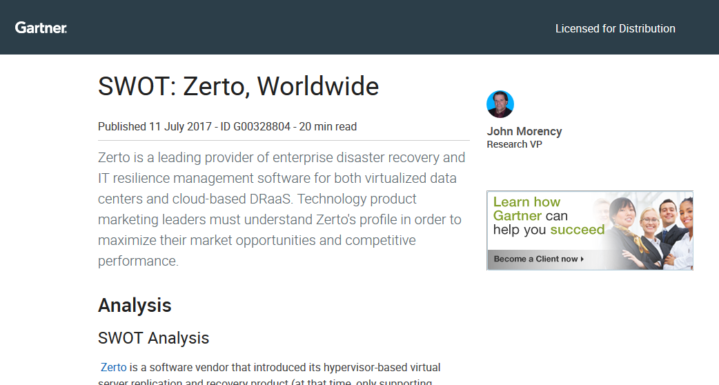 Gartner SWOT on Zerto : An In-Depth Analysis for Resilience Decision-Making