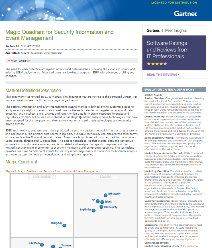 Gartner Magic Quadrant for SIEM 2015