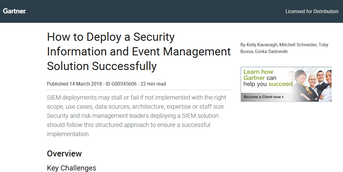 How to Deploy a SIEM Successfully by Gartner