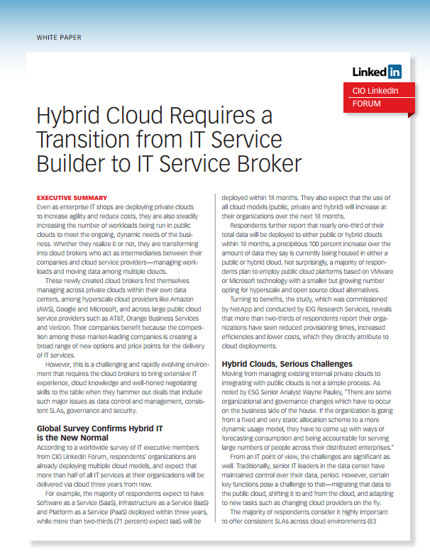 CIO Study: Hybrid Cloud Requires a Transition from IT Service Builder to IT Service Broker