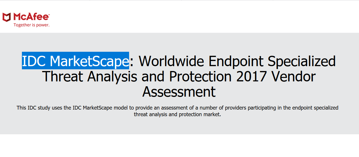 IDC MarketScape Worldwide Endpoint Specialized Threat Analysis and Protection 2017 Vendor Assessment