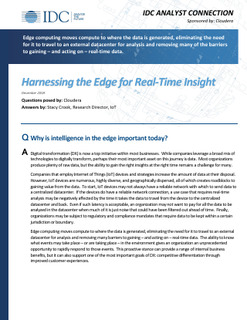 Harnessing the Edge for Real Time Insight