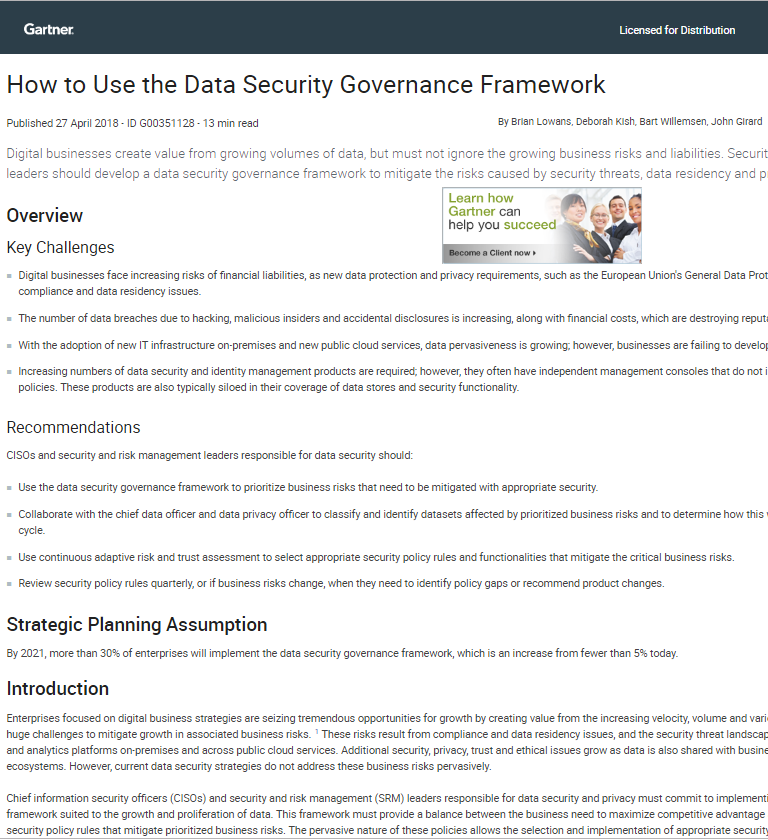 How to Use the Data Security Governance Framework