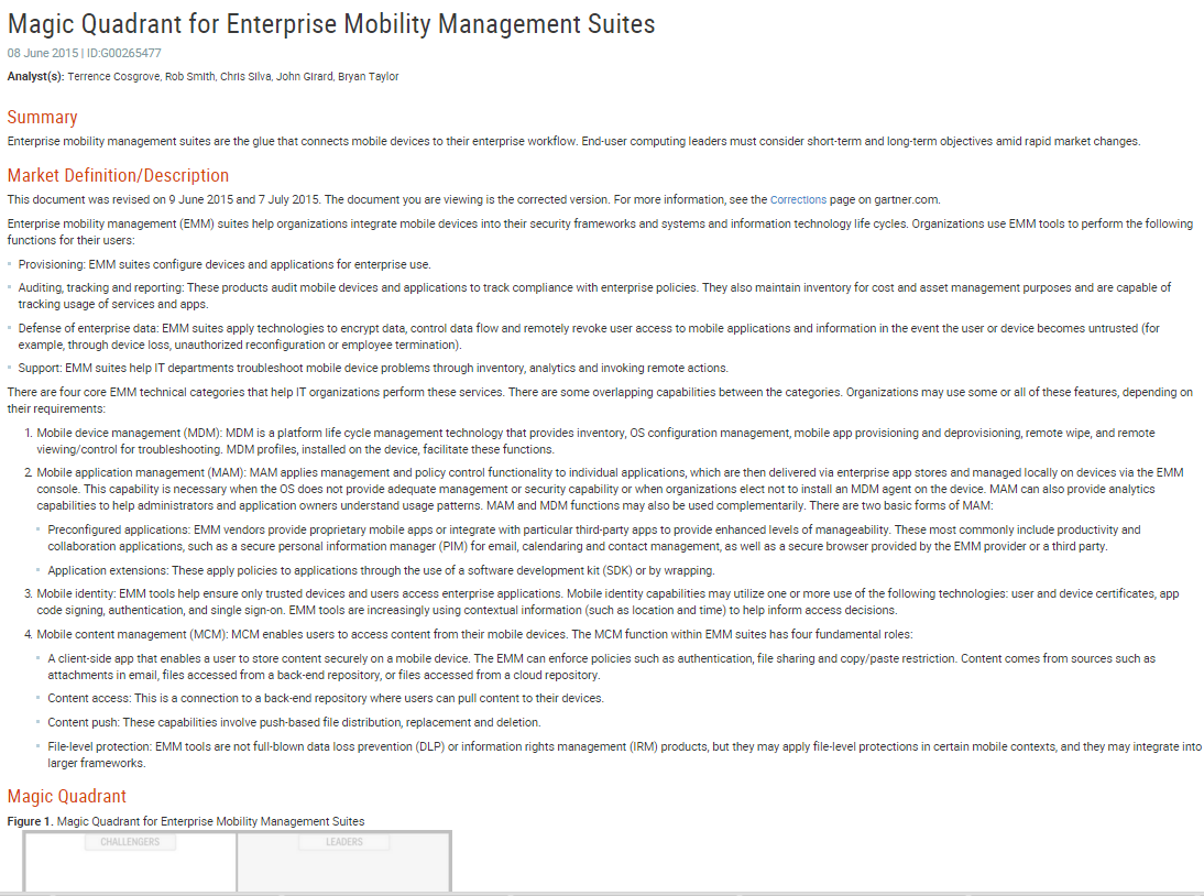 Magic Quadrant for Enterprise Mobility Management Suites