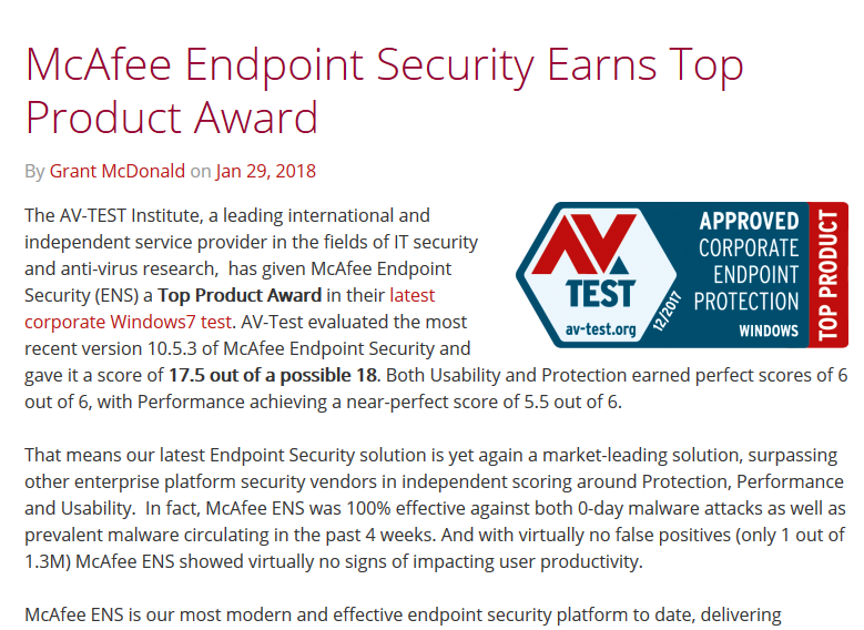 McAfee Endpoint Security wins top product award