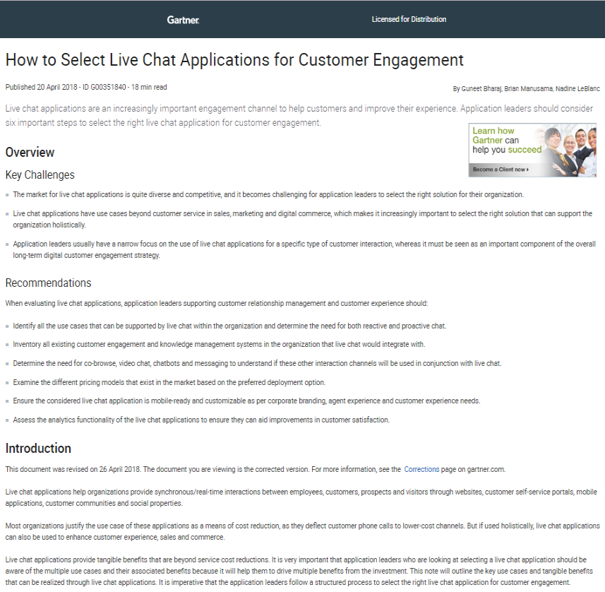 Gartner Report: How to Select Live Chat Applications for Customer Engagement