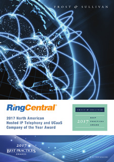 RingCentral: 2017 North American Hosted IP Telephony and UCaaS Company of the Year Award