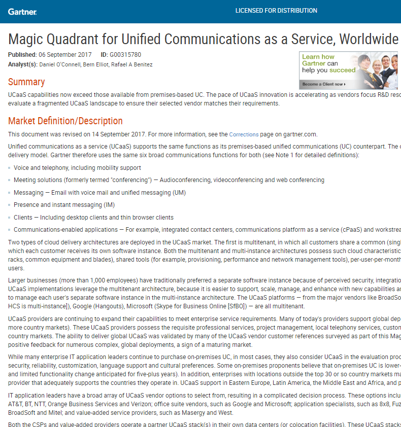 Magic Quadrant for Unified Communications as a Service, Worldwide