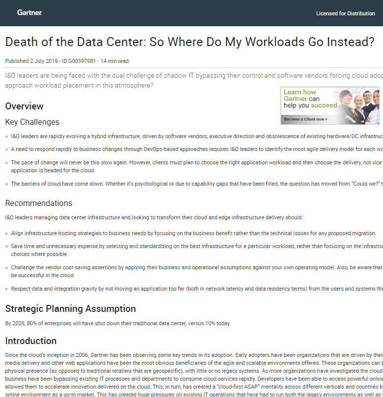 Gartner Report:  Death of the Data Center. So Where Do My Workloads Go Instead?
