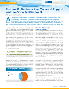 Shadow IT: The Impact on Technical Support and the Opportunities for IT