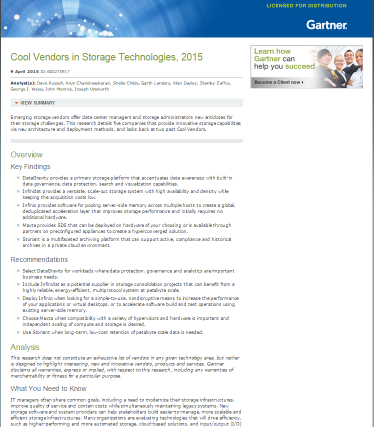 Gartner Report: Cool Vendors in Storage Technologies, 2015