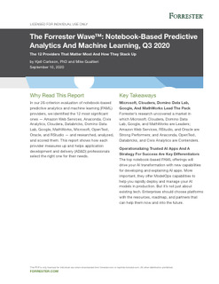 The Forrester Wave™: Notebook-Based Predictive Analytics And Machine Learning, Q3 2020