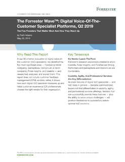 The Forrester Wave™: Digital Voice-Of-The Customer Specialist Platforms, Q2 2019