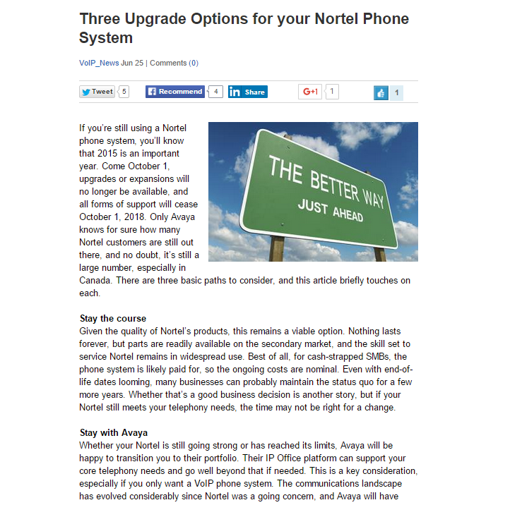 Three Upgrade Options for your Nortel Phone System