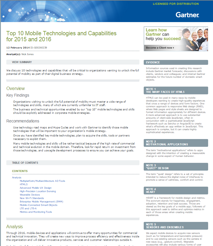 Top 10 Mobile Technologies and Capabilities for 2015 and 2016