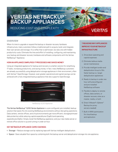 Veritas NetBackup Appliances Reducing Cost and Complexity