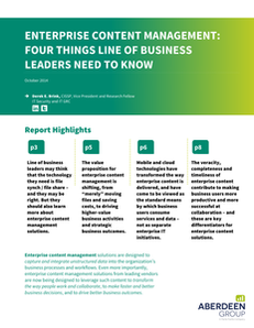 Enterprise Content Management: Four Things Line of Business Leaders Need to Know