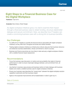 Gartner – Eight Steps to a Financial Business Case for the Digital Workplace