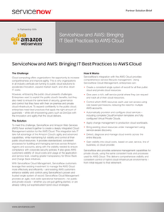 ServiceNow and AWS: Bringing IT Best Practices to AWS Cloud