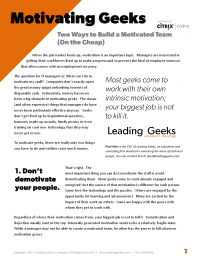 Leading Geeks Series: Build a Motivated Team