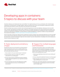 Developing Apps in Containers: 5 Topics to Discuss with Your Team