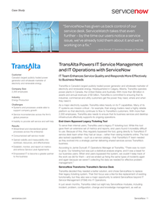 TransAlta Powers IT Service Management and IT Operations with ServiceNow