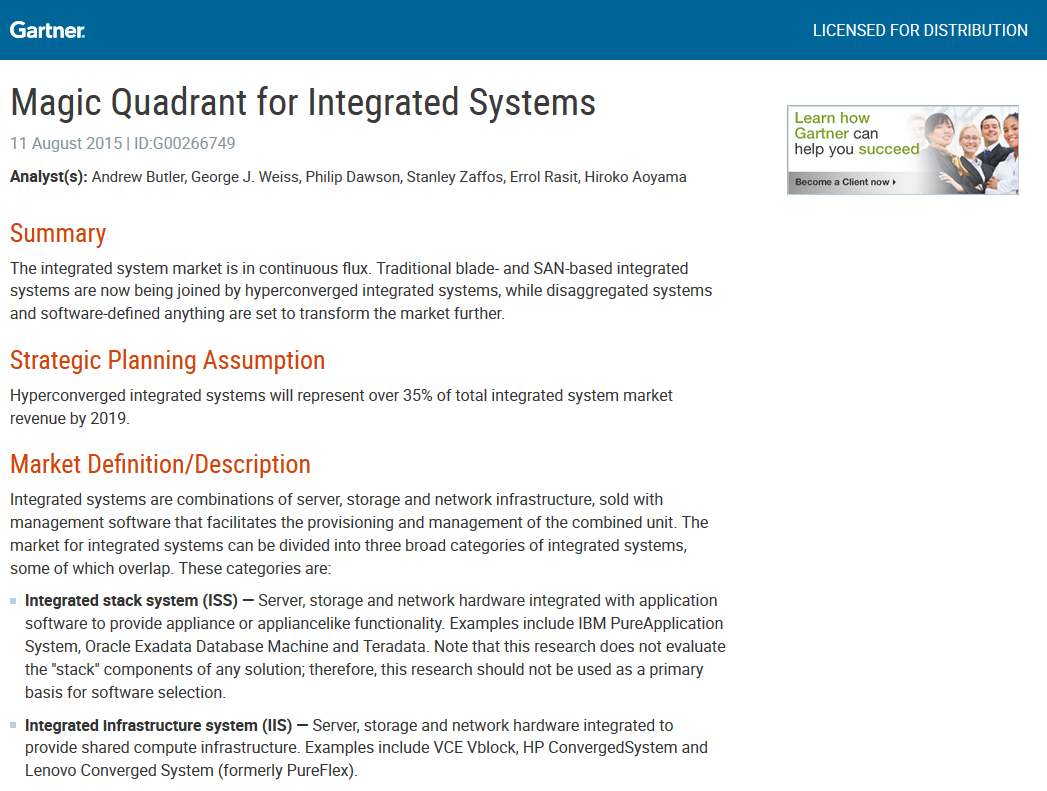 Gartner Magic Quadrant for Integrated Systems