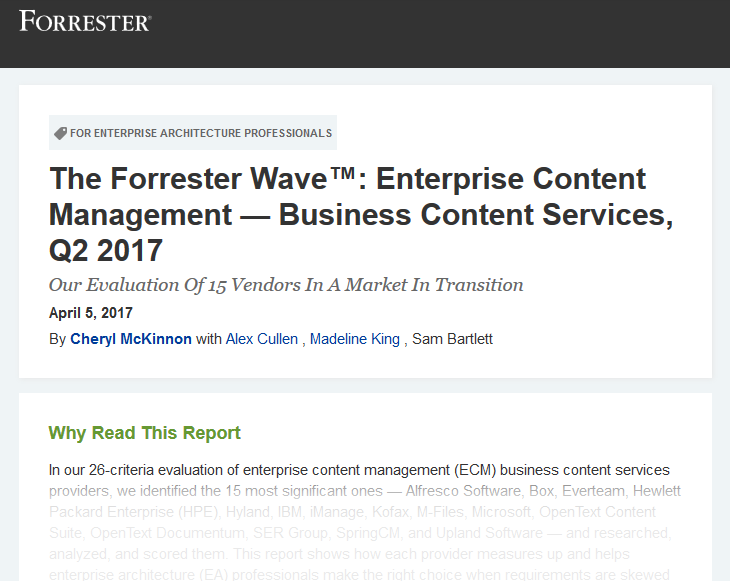 The Forrester Wave™: ECM business content services, 2017