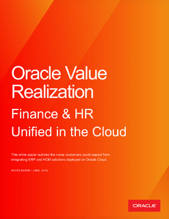 Oracle Value Realization: Finance & HR Unified in the Cloud
