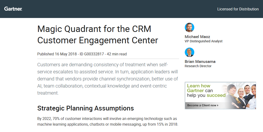 Gartner's 2018 Magic Quadrant for the CRM Customer Engagement Center
