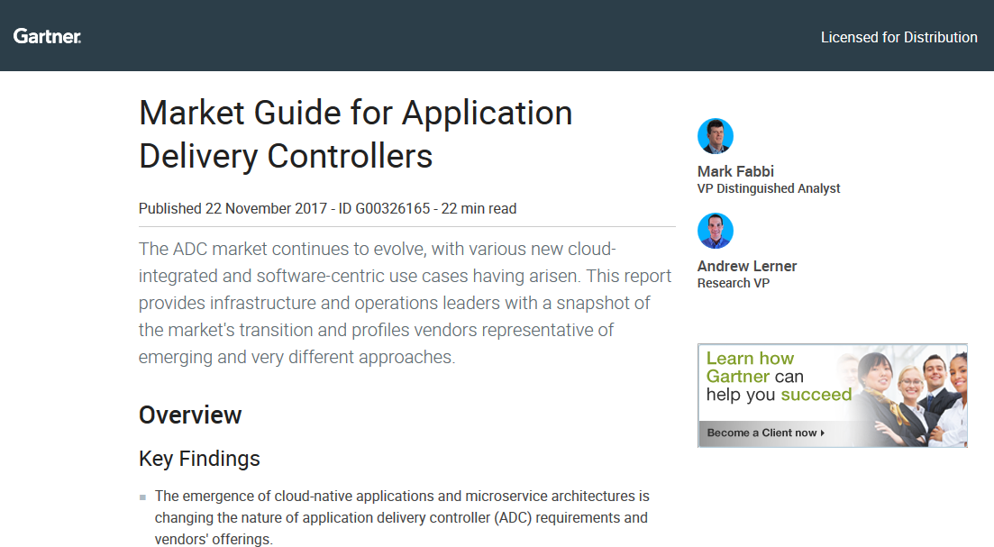 Gartner: Market Guide for Application Delivery Controllers