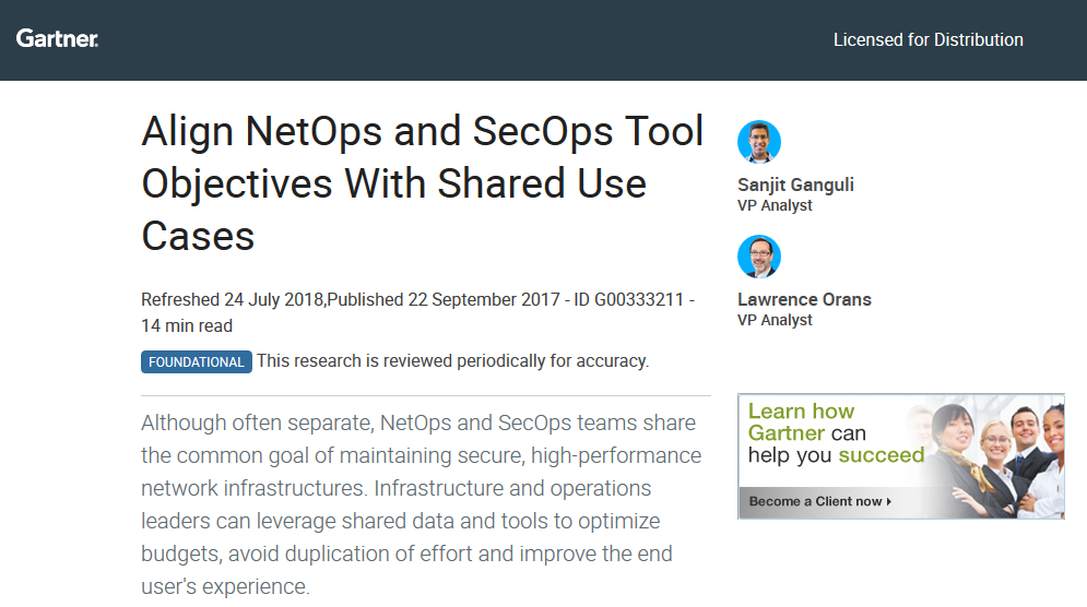Gartner Report: Align NetOps and SecOps Tool Objectives with Shared Use Cases