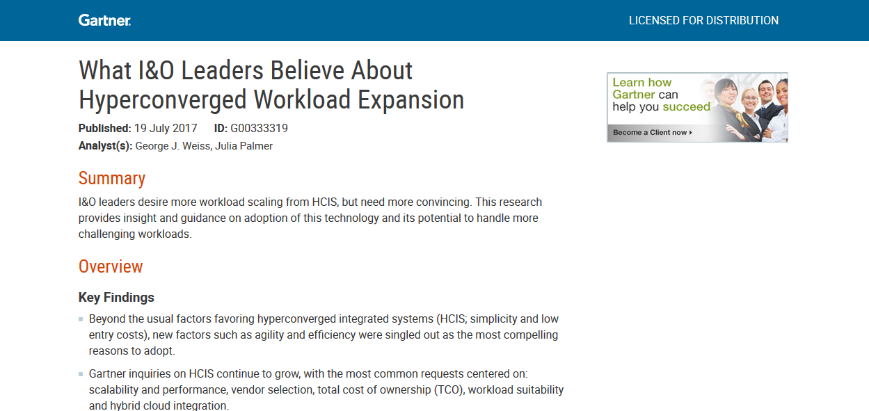 Gartner: What I&O Leaders Believe About Hyperconverged Workload Expansion