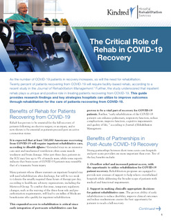 The Critical Role of Rehab in COVID-19 Recovery