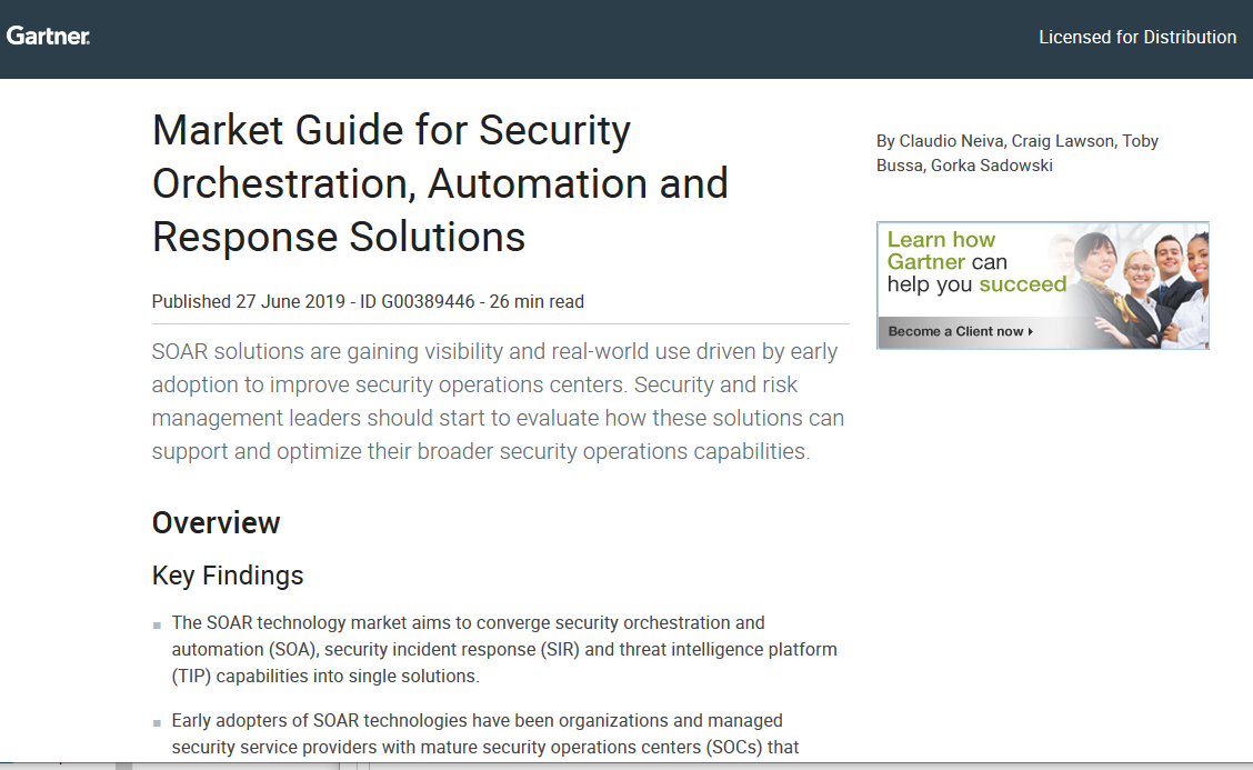 Gartner report: 2019 Market Guide for Security Orchestration, Automation and Response Solutions