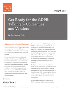 Get Ready for the GDPR: Talking to Colleagues and Vendors