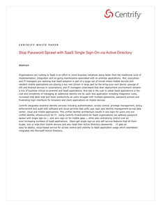 Stop the Password Sprawl with SaaS Single Sign-On via Active Directory