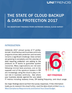 The State of Cloud Backup & Data Protection 2017