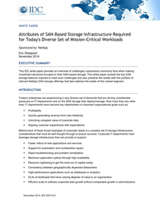 IDC Paper: Attributes of SAN Storage Required for Business Critical Workloads