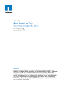 Rent, Lease or Buy: Choosing the best cloud storage consumption model to fit your business requirements