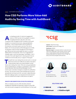 How CSG Performs More Value-Add Audits by Saving Time with AuditBoard